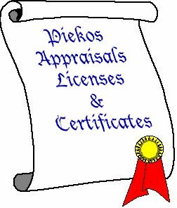 Piekos Appraisals Licenses & Certifications